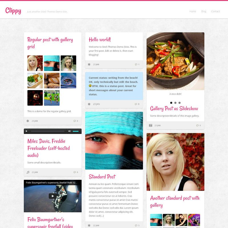 Clippy is a clean, responsive theme designed in a pinning