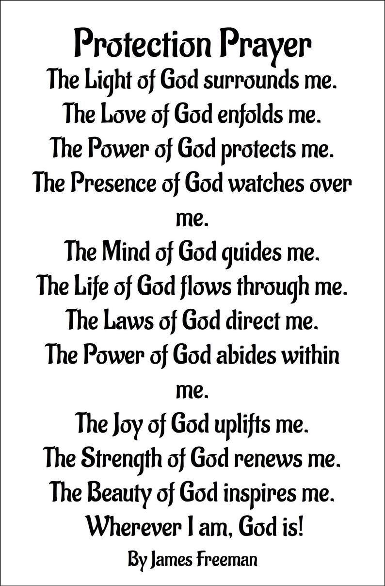 James Freeman Prayer for Protection. Digital downl