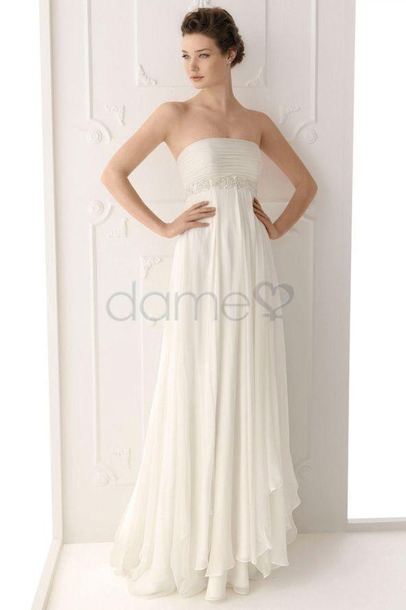 Göttin Brautkleider Chiffon Strand trägerloses bodenlanges elegantes ...