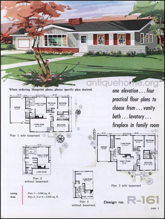 1962 National Plan Service House Blueprints Ranch House Plans Ranch Style House Plans