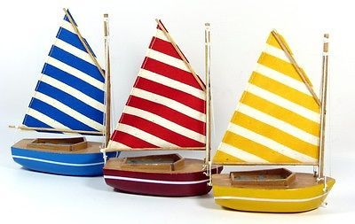 #Small model sail boat, #dinghy, #colourful with striped sails, 10cm, nautical,  View more on the LINK: http://www.zeppy.io/product/gb/2/360929423205/