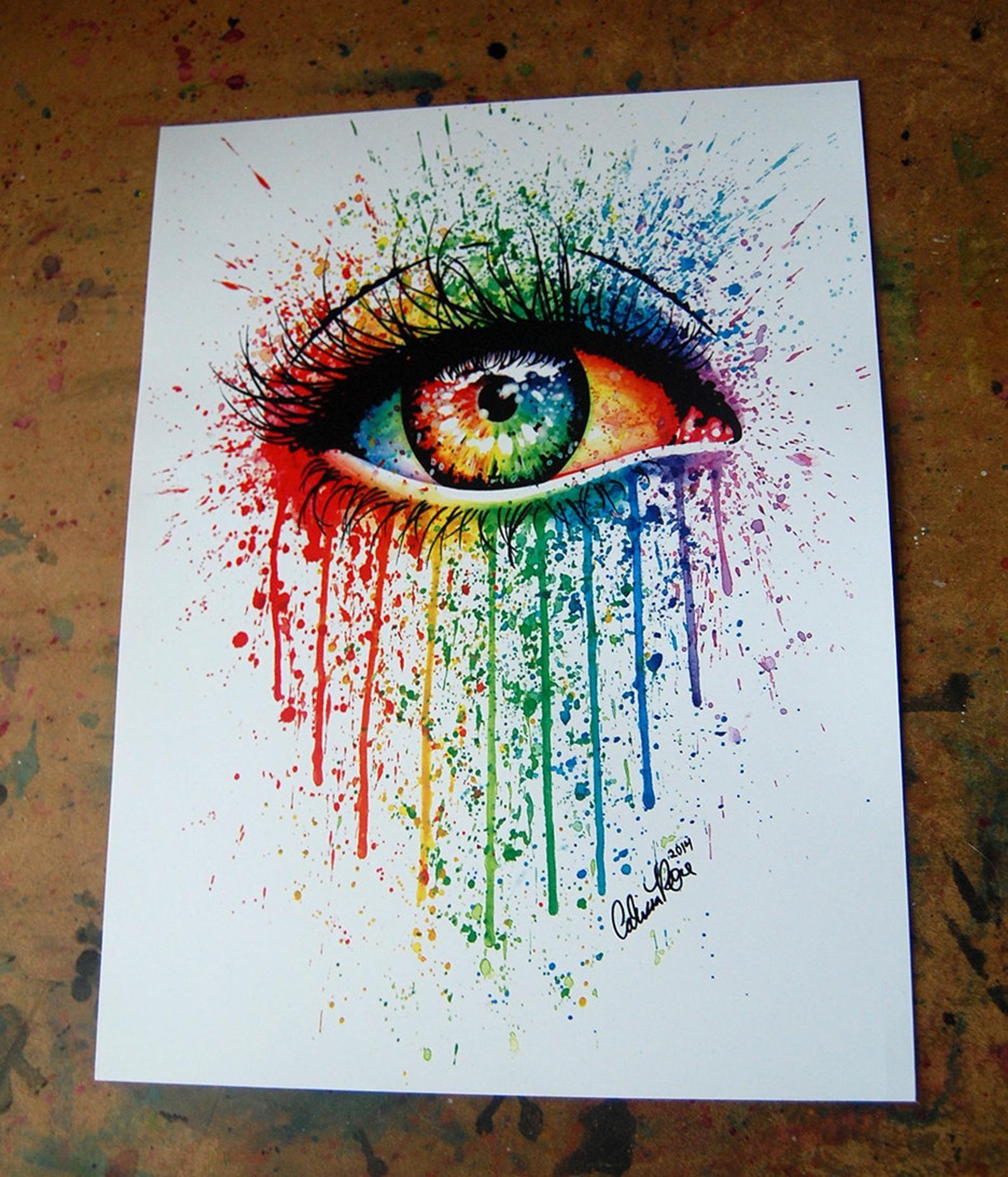Signed Art Print Rainbow Eye Painting Pop Art Colo