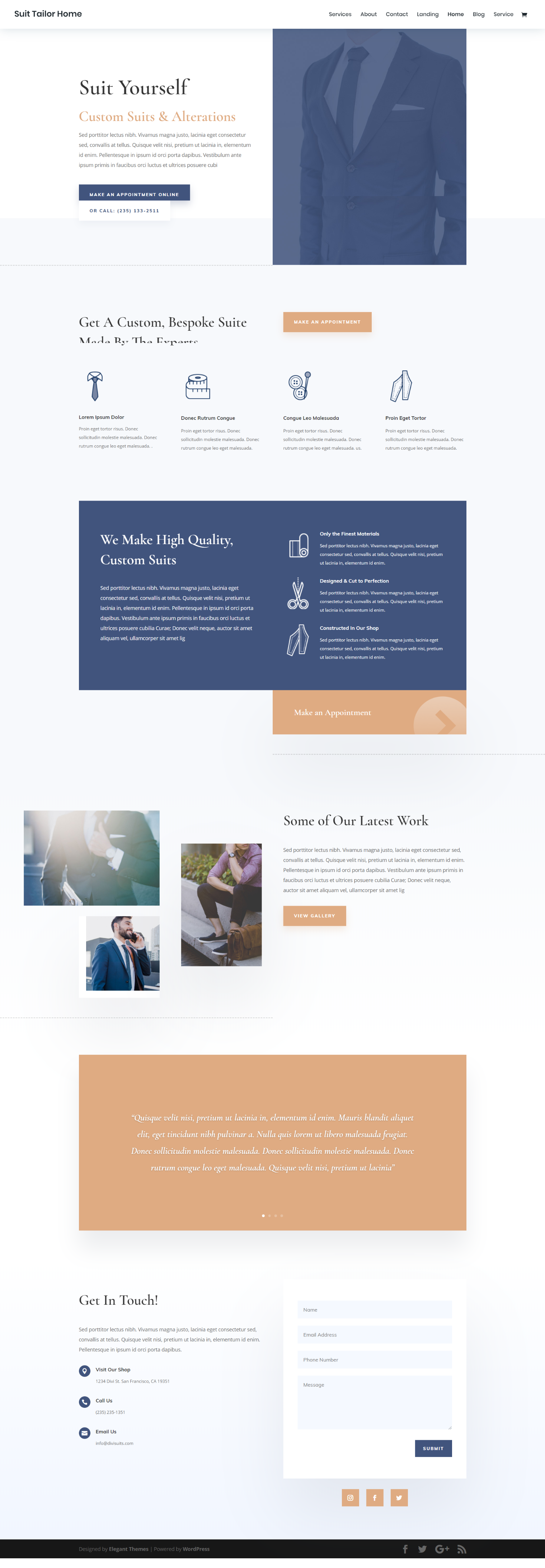 Suit Tailor Landing Page Elegant Themes Web Design Inspiration Simple Web Design Simple Website Design