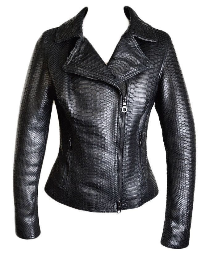 low cost d8e20 eb303 Dark 8 Fabric Finished Python Skin Jacket