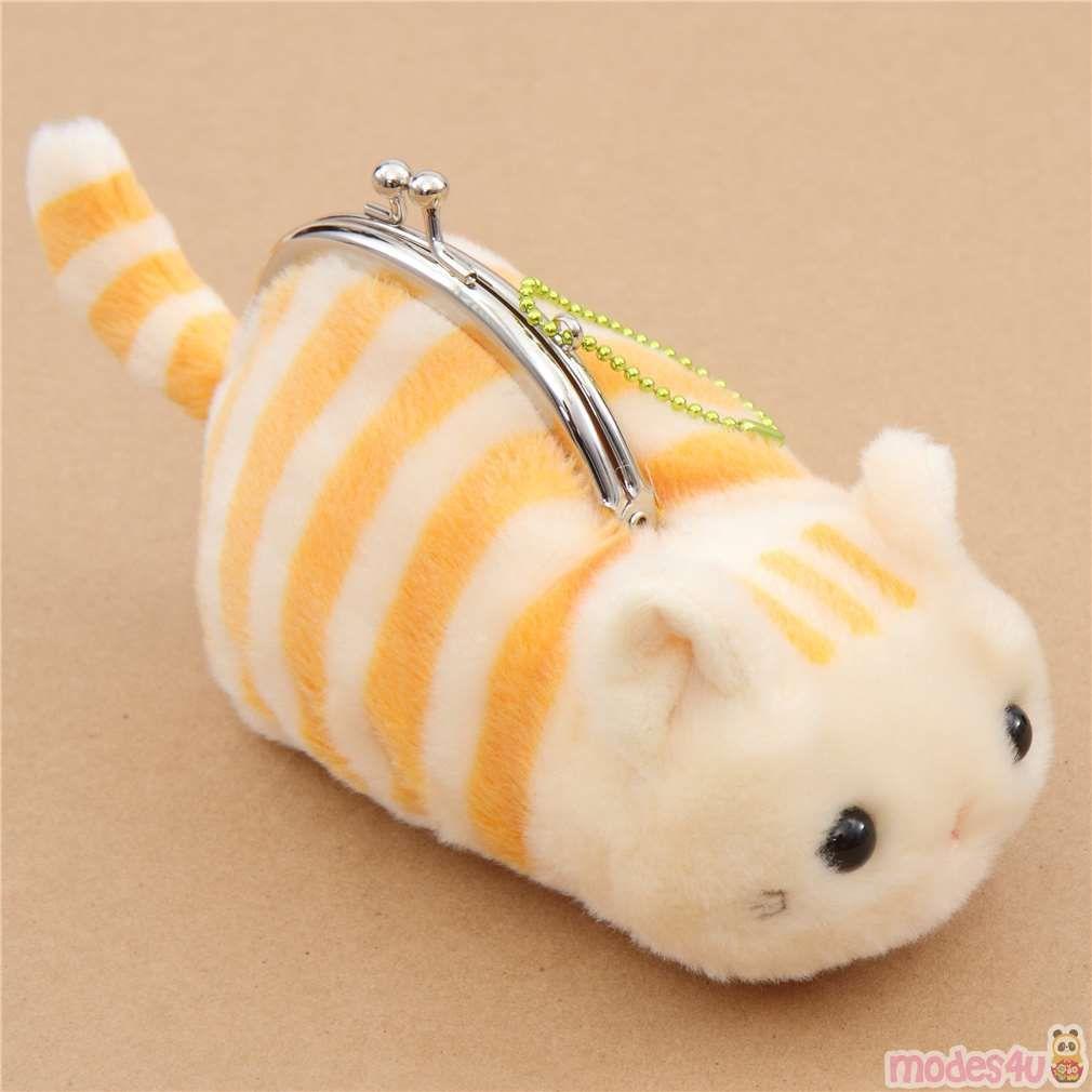 Soft Cute Beige Orange Stripe Cat Plush Tsuchineko Purse Wallet From Japan Cat Plush Striped Cat Purses [ 1010 x 1010 Pixel ]