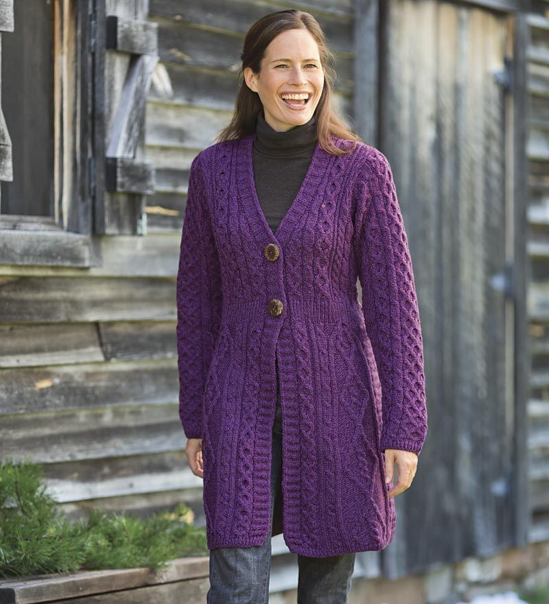 Merino Wool Aran Knit Long Sweater is soft and warm - and made in ...