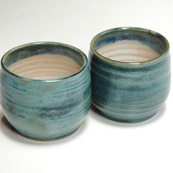 f100c4c51b1 Pottery Yunomi,Clay Espresso Cups,teal teacups,mug no handle ...