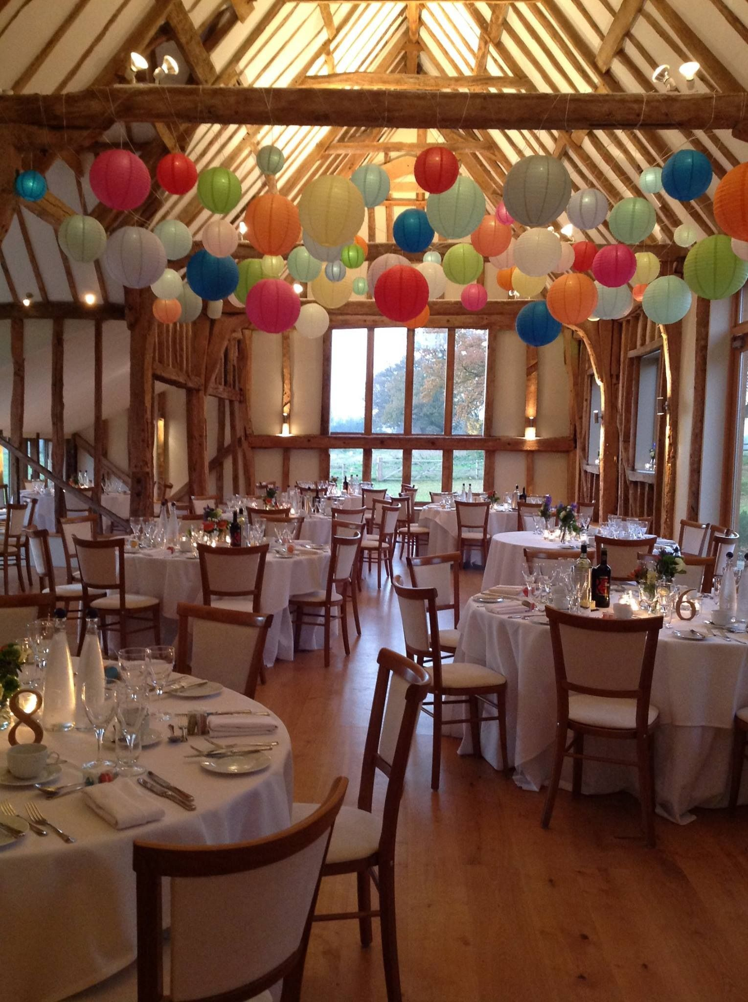 Brighten Up A Barn Venue With Our Funky Bright Coloured Lanterns Keep Table And Chair Dec Barn Wedding Decorations Paper Lanterns Candle Wedding Centerpieces