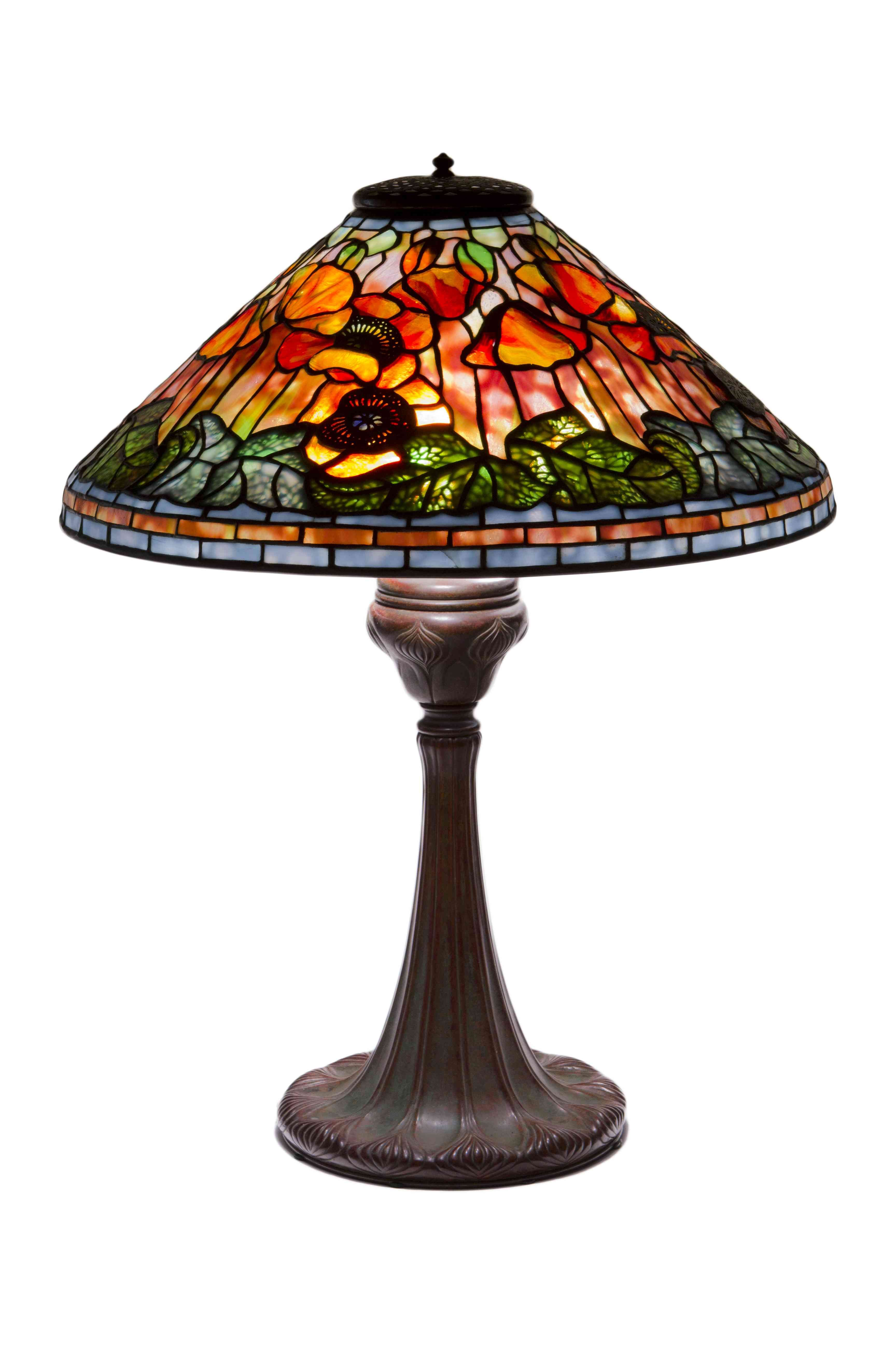 This american art nouveau table lamp is no longer available - Sunset Poppy Table Lamp An American Art Nouveau Patinated Bronze Leaded And Stained Glass