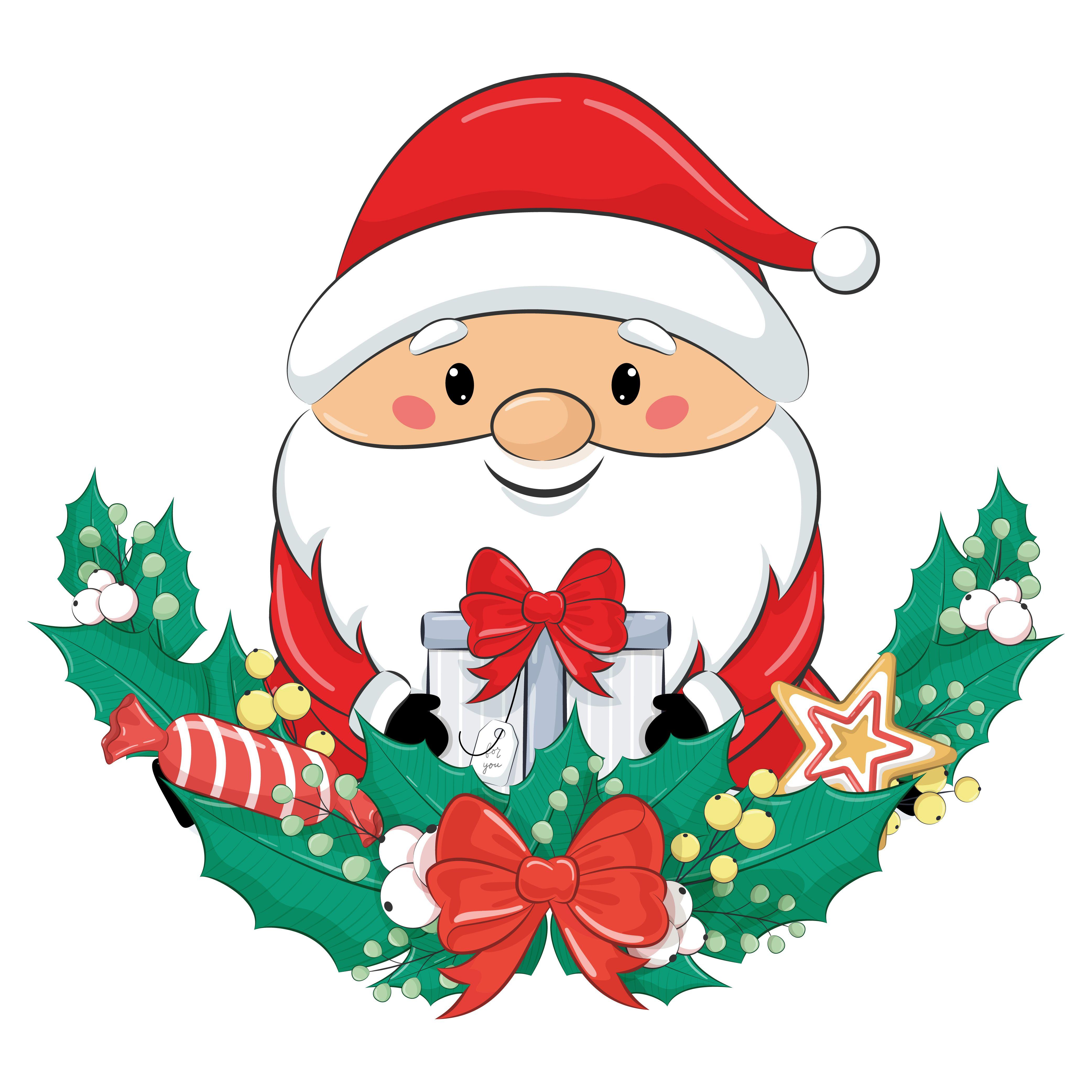Christmas Clipart Cute Santa Clip Art Png Eps Jpeg Digital Download Christmas Drawing Christmas Art Christmas Clipart
