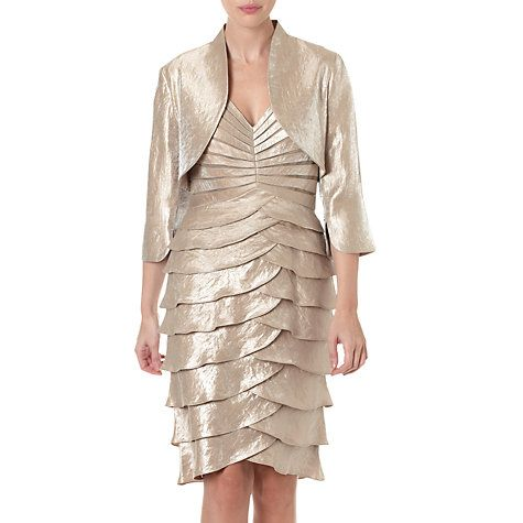 Buy Adrianna Papell Shutter Pleat Dress With Jacket, Champagne ...
