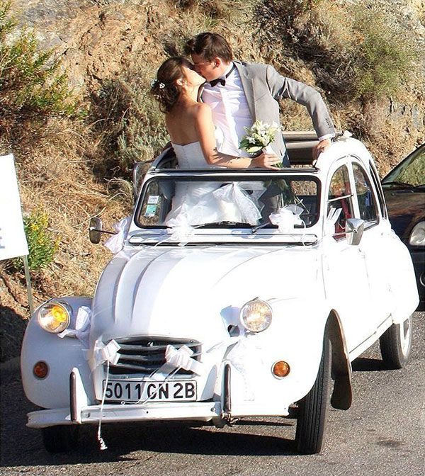 2 cv blanche lou u00e9e pour un mariage