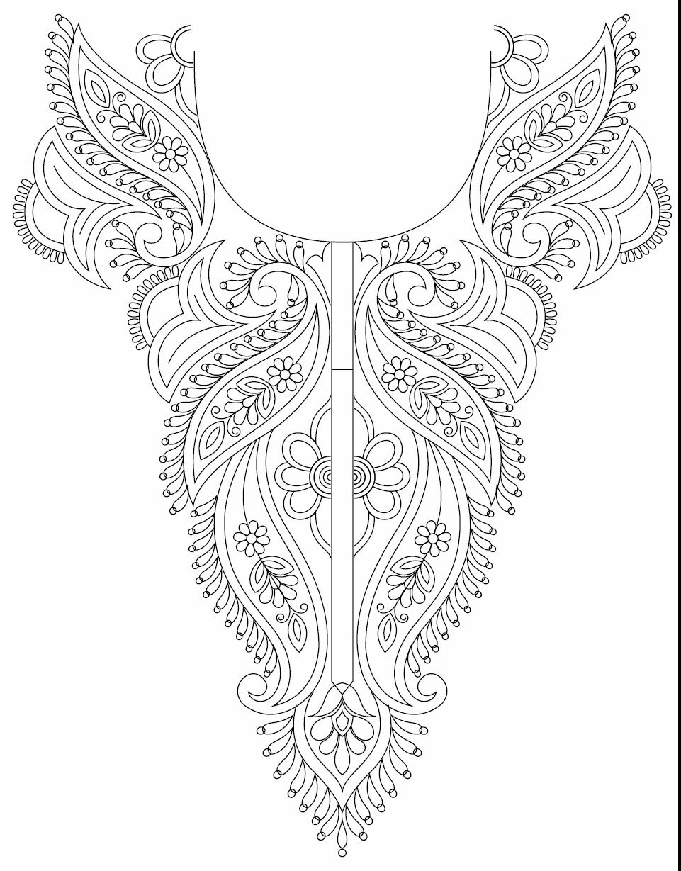 Line Art Embroidery : Hand embroidery designs for kurtis neck