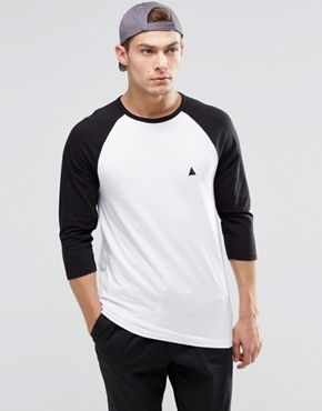ASOS Muscle 3/4 Sleeve T-Shirt With Contrast Raglan Sleeves And Logo £