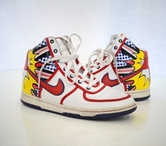 ... online sneakler c44ab e7208 Vintage 1980 Nike high top shoes - comic  book theme; released 2019 909d8 61f4d The Nike SB Dunk ...
