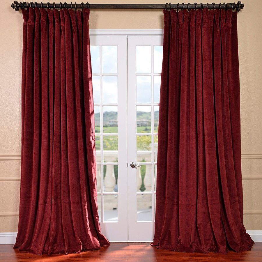 Red velvet window curtains - Half Price Drapes Signature Double Wide Velvet Blackout Curtain