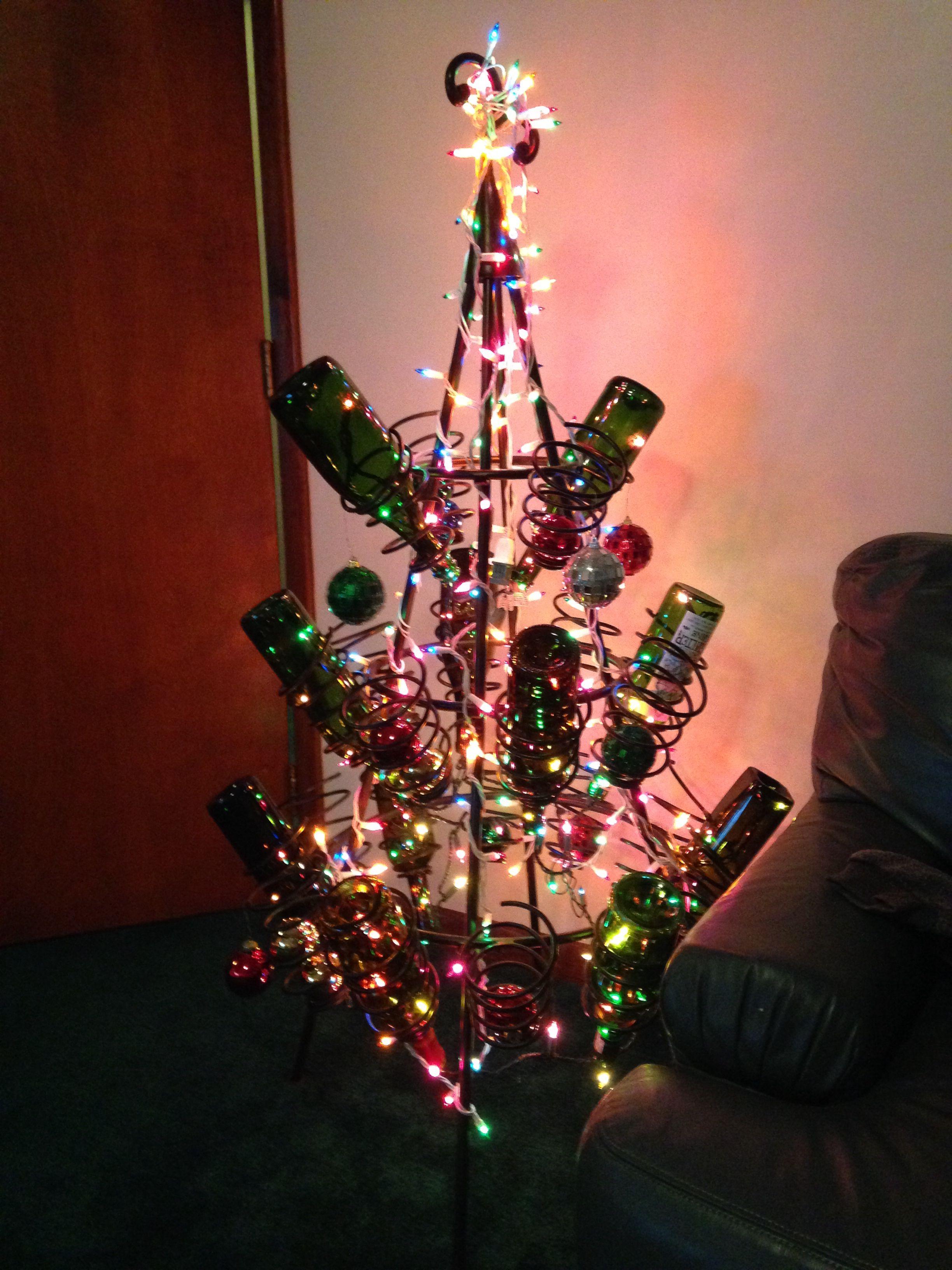 Christmas tree wine rack | Tis' the season | Christmas ...