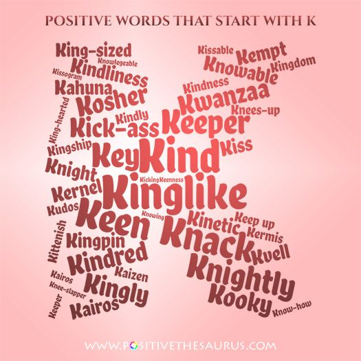 Ideal list of positive adjectives starting with K wordcloud