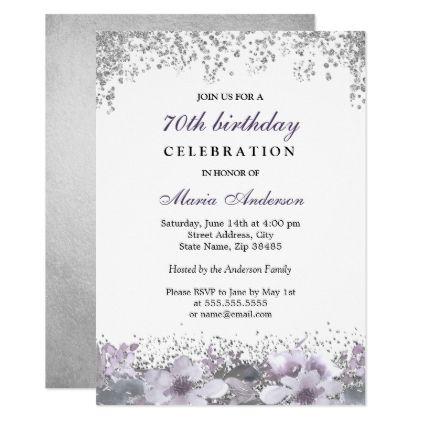 Silver Glitter Purple Floral 70th Birthday Invite