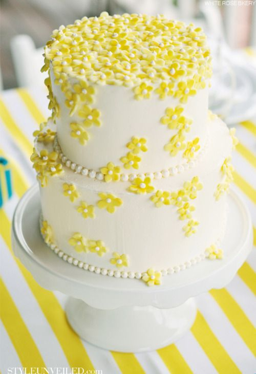 simple #cake adorned w/yellow flowers. #wedding #party | ☆ Cakes ...