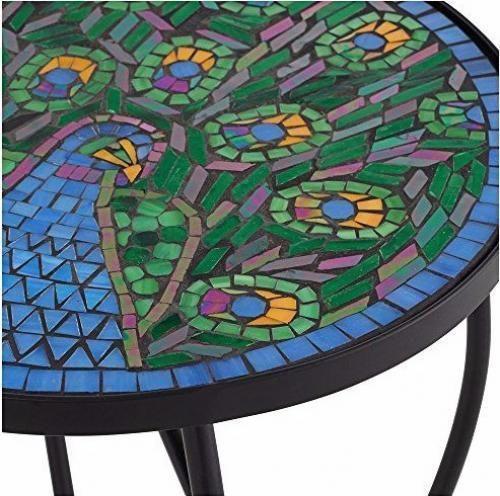 Outdoor Accent Table Patio Deck Garden Peacock Blue Mosaic Tile