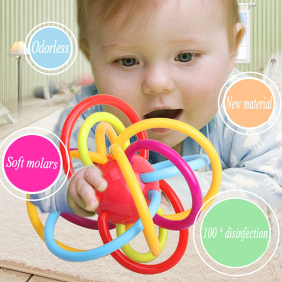 Toys for tots images  Silicone Baby Teether Toys Hand Bells Ball Developmental Soft Rattle
