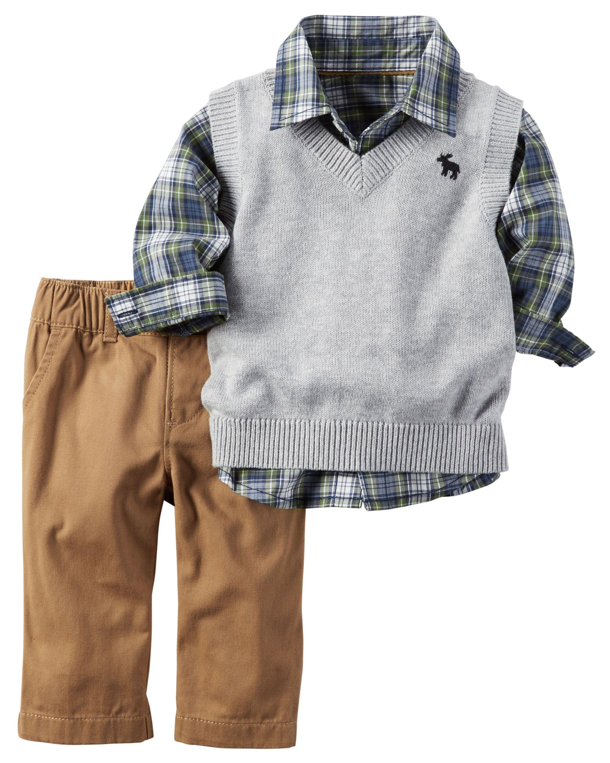 b0a6af82 Baby Boy 3-Piece Little Vest Set | Carters.com | Baby | Baby boy ...