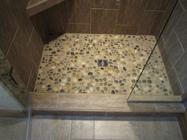 Shower Floor River Rock Pan Contemporary Bathroom By Mosquito Creek Home Renovations