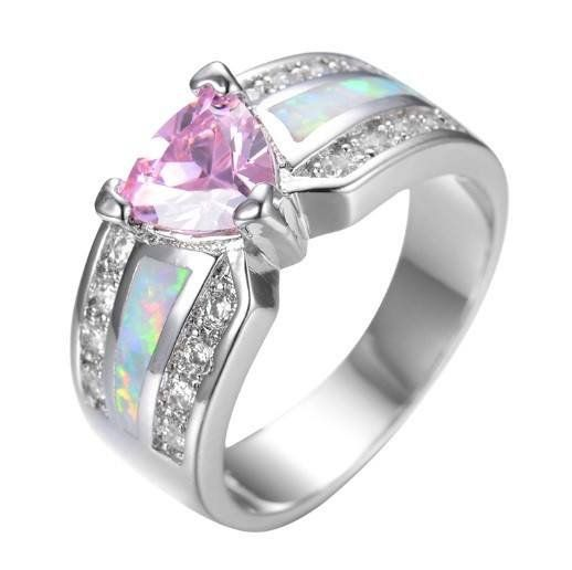 Pink Triangle-Cut Opal White Gold Ring - Mystical Magik