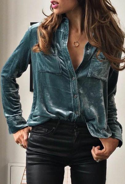 Blue Velvet Button Down Long Sleeve Shirt   Velvet fashion