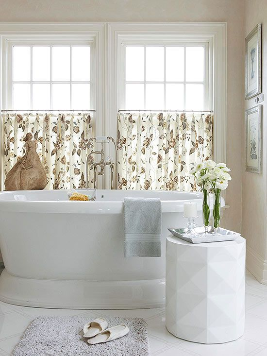 A Simple Cafe Curtain Style Window Treatment Can Be The Perfect Finishing Touch To An Elegant Bathroom Placing So That It Covers Lower