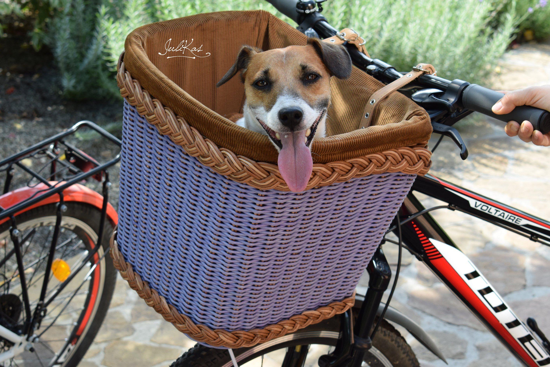 Dog Bicycle Basket Violet Dog Bike Carrier Wicker Pet Bike Etsy