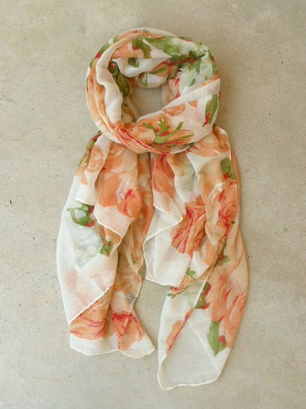 Feminine Rose Scarf Would look cute with white shirt, bluejeans, and gold earrings! Or anything else(: