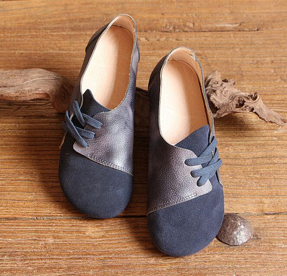 Handmade Women Shoes,Dark Blue Oxford Shoes, Flat
