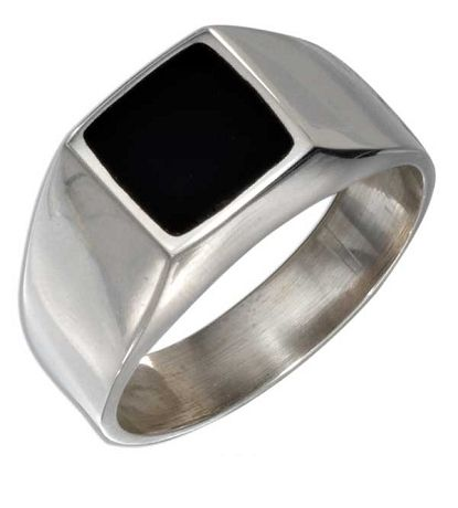 Men's Silver Square Onyx Ring - JP1384