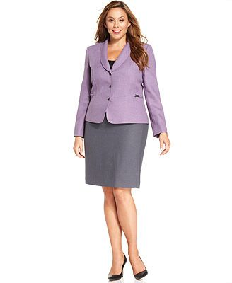 d760444f89e3 Tahari ASL Plus Size Lavender-Blazer Skirt Suit | work | Skirt suit ...