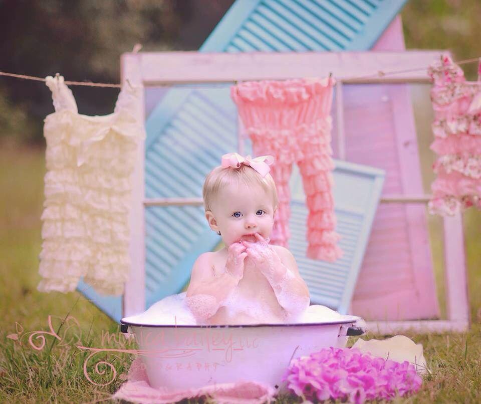 Vintage Baby Bath Photo Shoot Session Savannah Ga Child Model Photographer  Monica Bailey Photography