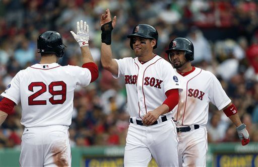 Boston Red Sox's Jacoby Ellsbury, center, celebrates with Daniel Nava (29) after scoring with Shane Victorino, right, on two-run single by David Ortiz in the third inning of the first game of a baseball doubleheader against the Tampa Bay Rays in Boston, Tuesday, June 18, 2013. (AP Photo/Michael Dwyer)