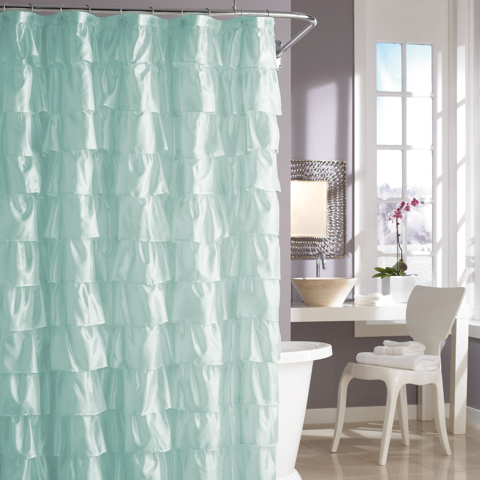 Steve Madden Ruffles Shower Curtain in Pale Aqua // looks kind of ...