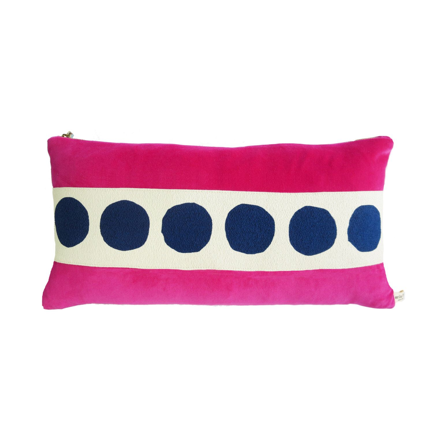 Hot pink velvet pillow with hand printed navy circle trim