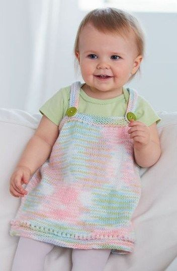 Free knitting pattern for baby pinafore jumper