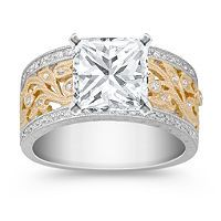 Princess Cut Vintage Diamond Two-Tone Engagement Ring with Pave Setting shown with diamond center; your choice of ruby, sapphire or diamond center