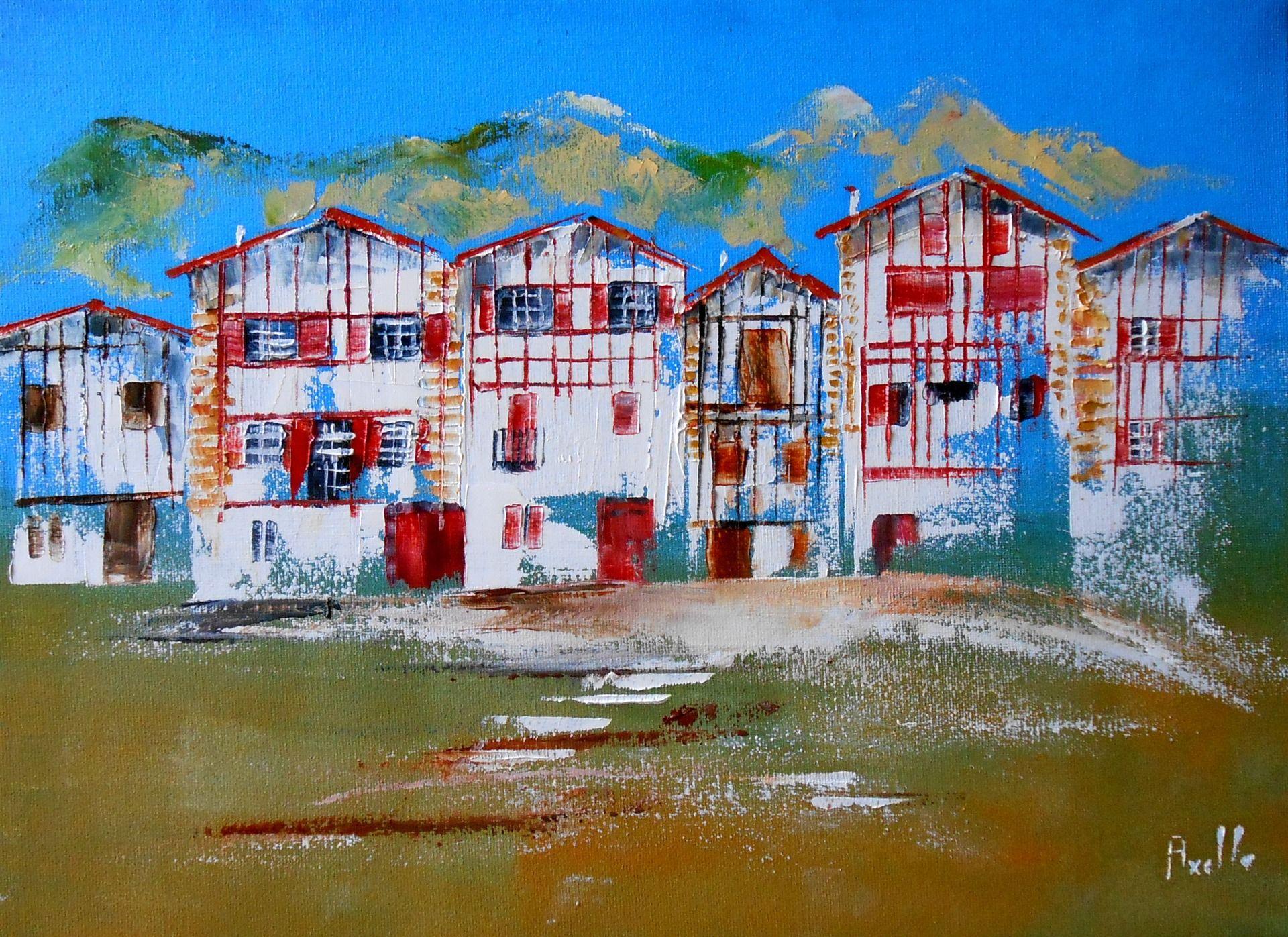 Tableau le pays basque et ses maisons typiques - Maison close pays basque ...