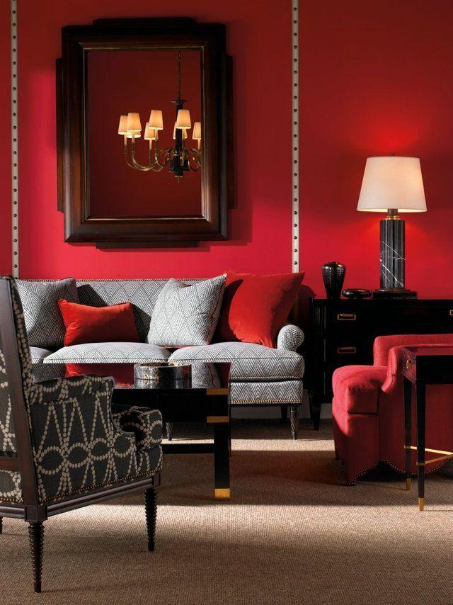 Salon stylé avec des murs rouges | couleur brique | Salons ...