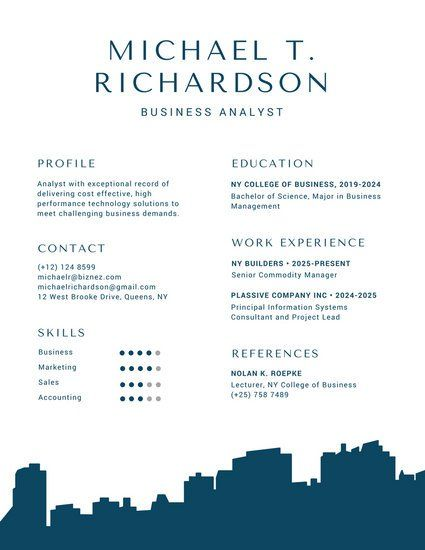 Blue Building Silhouette Infographic Resume Resume Pinterest - building resume