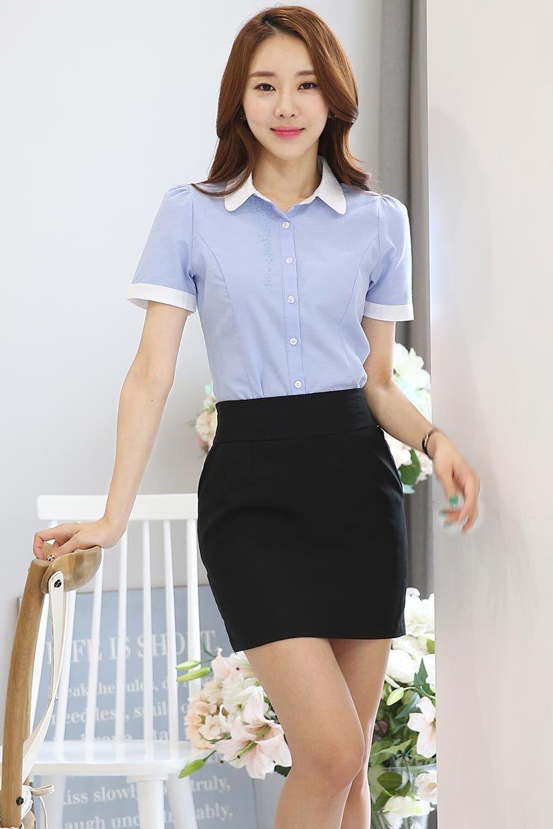 Blue Floral Embroidered Button Short Sleeve Shirt Women Shirts Blouse Women Beautiful Fashion
