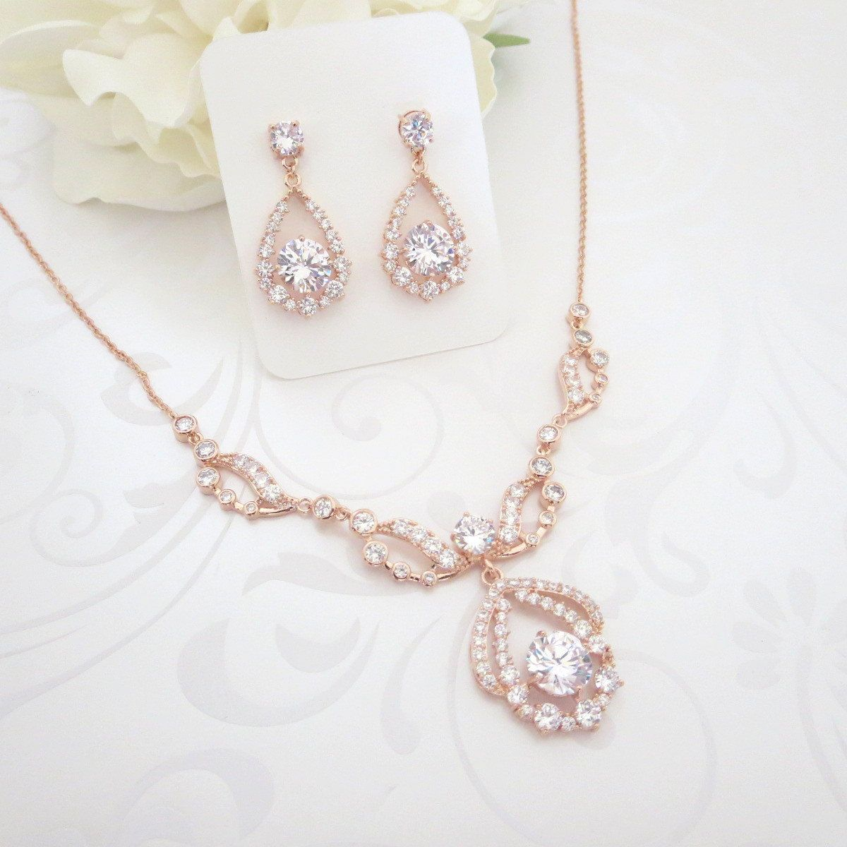 512509e98 Rose Gold Necklace set, Rose Gold Bridal necklace, Wedding jewelry set, Rose  Gold earrings, Crystal earrings, Vintage style necklace by  TheExquisiteBride on ...