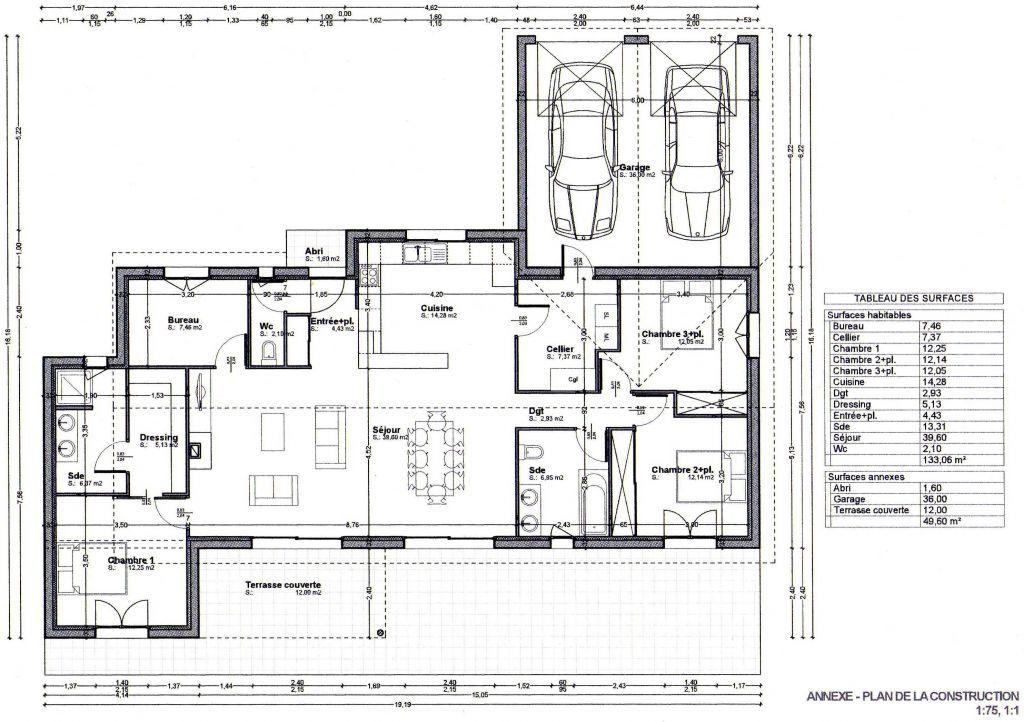 Photo N°230717 - Landes (40) - Projet  - plan de maison rectangulaire plain pied