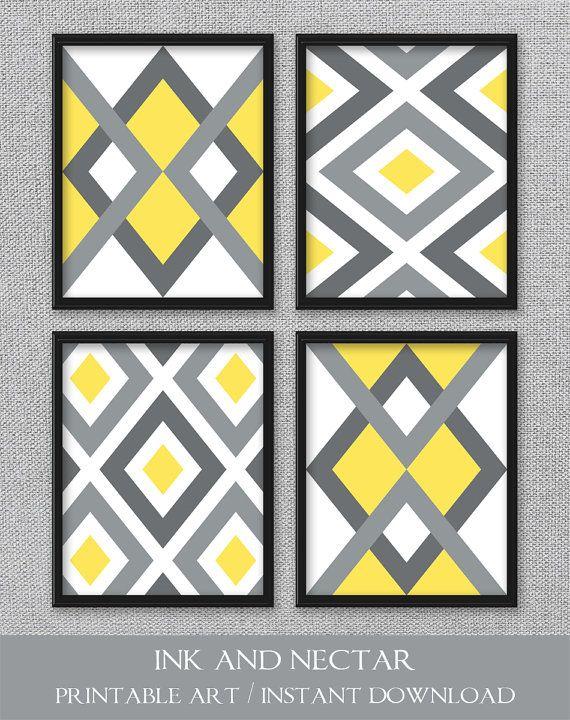 9ad163c3940 Printable Art Yellow and Gray Art Geometric Prints Bedroom