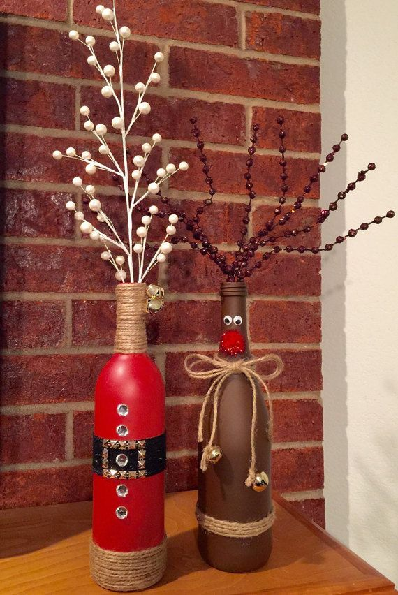 christmas wine bottle vases by lalacreations4 on etsy - Christmas Wine Bottle Decorations